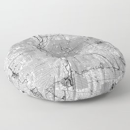 Denver White Map Floor Pillow