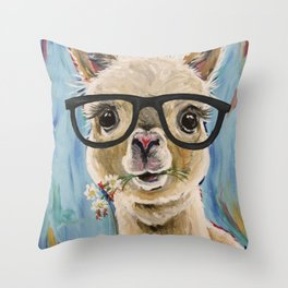 Cute Alpaca With Glasses Throw Pillow