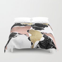 Modern white black marble rose gold foil color block handdrawn geometric lines Duvet Cover