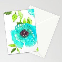 Aqua poppy Stationery Cards