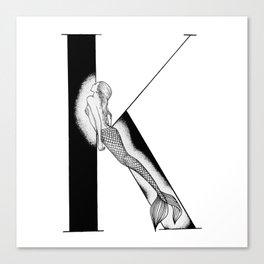 Mermaid Alphabet - K Canvas Print