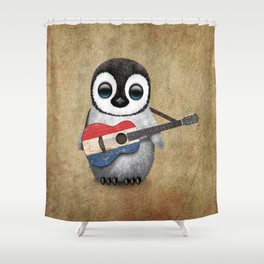 Baby Penguin Playing Dutch Flag Acoustic Guitar Shower Curtain
