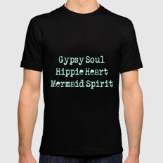 Gypsy Soul, Hippie Heart, Mermaid Spirit MEDIUM Black Mens Fitted Tee