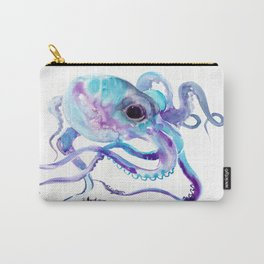 Octopus, Turquoise Blue purple art, Sky blue, Turquoise beach house design Carry-All Pouch