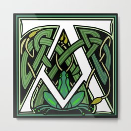 Celtic Frogs Letter A Metal Print
