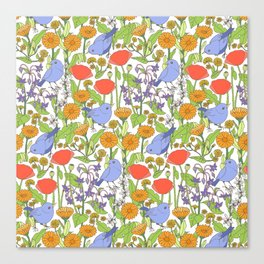 Birds and Wild Blooms Canvas Print