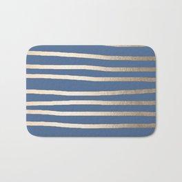 Simply Drawn Stripes White Gold Sands on Aegean Blue Bath Mat