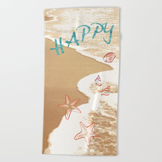 Happy beach Beach Towel