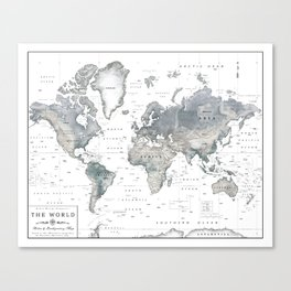 The World [Black and White Relief Map] Canvas Print