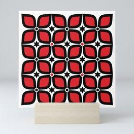 Mid Century Modern 4 Leaf Clover - Black, White, Red Mini Art Print