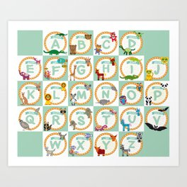 ABC alphabet for kids from A to Z. Set of funny cartoon animals character. zoo Art Print