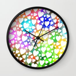 Watercolour Heart Pattern Wall Clock