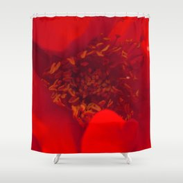 Scarlet Red Flower Macro Photo Shower Curtain