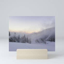 Natural and snow cannon mist in the morning Mini Art Print