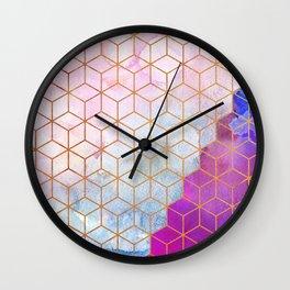 Gold Hexagons + Purple Watercolor g105 Wall Clock