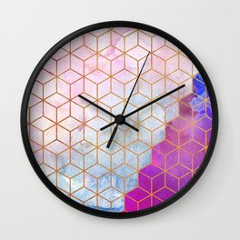 Gold Hexagons + Purple Watercolor Wall Clock