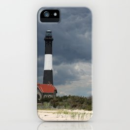Dramatic Sky Over Fire Island Light iPhone Case