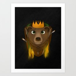 """The Warlord Bear"" Black Textured Background Art Print"