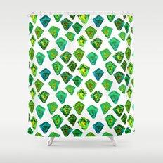 Green gemstone pattern. Shower Curtain
