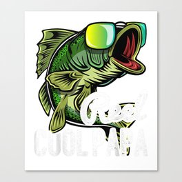Mens Reel Cool Papa Fishing Sunglasses Father's Day Gift Shirt Canvas Print