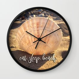 """Eat, beach, sleep"" California sandy beach with seashell photo Wall Clock"
