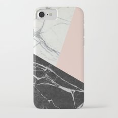 Black and white marble with pantone pale dogwood Slim Case iPhone 7