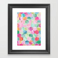 Pretty Pastel Hexagon Pattern in Oil Paint Framed Art Print