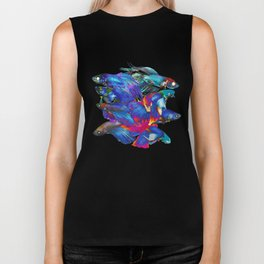 FIGHTING FISHES BETTA - Animals | Psychedelic | 70's | Abstract | Pop | Surrealism | Nature Biker Tank