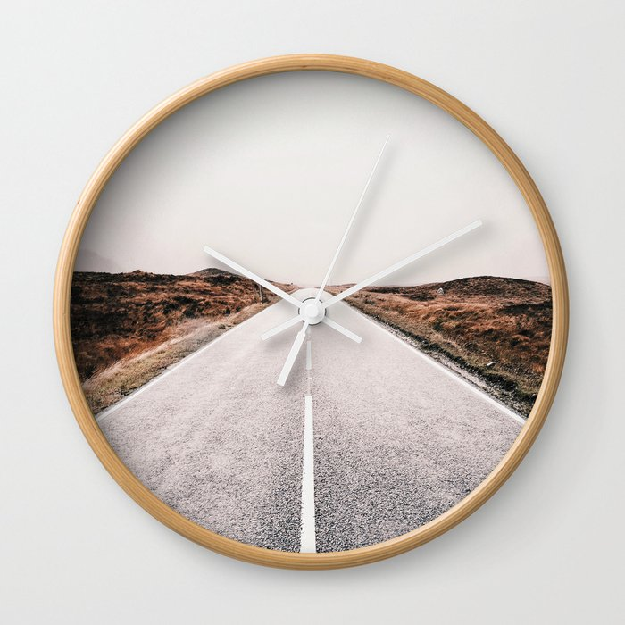 ROAD - HIGH WAY - LANDSCAPE - PHOTOGRAPHY - NATURE - ADVENTURE - SKY Wall Clock