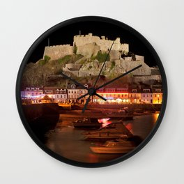 Jersey Night Castle - Mont Orgueil Wall Clock