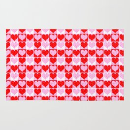 Love Heart Red Pink and White Check Pattern Rug