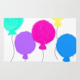 Fly Freely - colorful nursery balloon illustration Rug