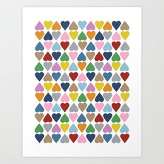 Diamond Hearts Repeat Art Print