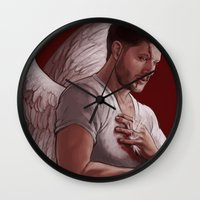dean winchester Wall Clocks featuring Michael. Dean Winchester by Armellin