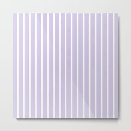 Lilac and White Vertical Stripes Pattern Metal Print