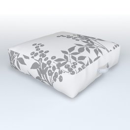 LEAF TOILE GRAY AND WHITE PATTERN Outdoor Floor Cushion