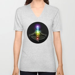 Humanoid in lotus yoga pose with glowing chakras Unisex V-Neck