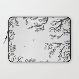 tree branches with birds and leaves on a light background Laptop Sleeve