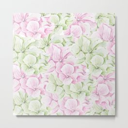 Blush pink green hand painted watercolor floral Metal Print
