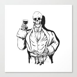 Vampire skeleton holding blood cup -  black and white Canvas Print