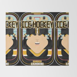 Ice Hockey Black and Yellow - Boardie Zamboni - Amy version Throw Blanket