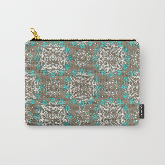 Brown turquoise bling . Carry-All Pouch
