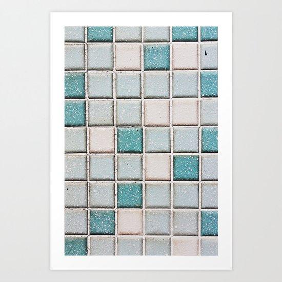 Turquoise Blue Tile Pattern Art Print