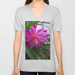 """BLOOMING FUCHSIA PINK """" ORCHID CACTUS"""" FLOWER Unisex V-Neck"""