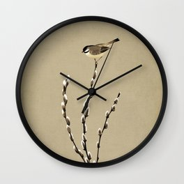 Chickadee And Pussy Willow Wall Clock