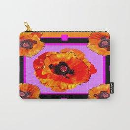 Decorative Golden-Orange Poppy Flowers Purple-Chartreuse Art Carry-All Pouch