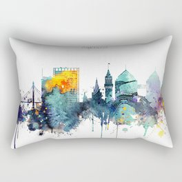 Watercolor Oakland skyline cityscape Rectangular Pillow