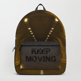 Funneling Tunnel with One Way to go KEEP MOVING Motivation Backpack