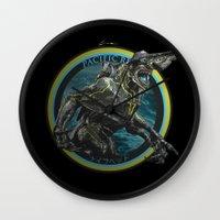 pacific rim Wall Clocks featuring Knifehead - Pacific Rim by Leamartes