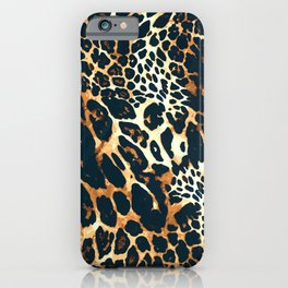 Leopard fur animal print hand painted vintage illustration pattern iPhone Case